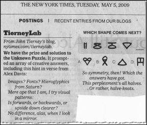 A puzzle given by New York Times columnist John Tierney.